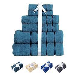 HILLFAIR 600 GSM Luxury 100% Cotton 6 Piece Bath Towel Set ,