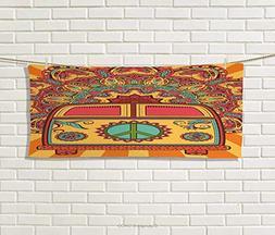 Anniutwo 70s Party,Hand Towel,Hippie Vintage Mini Van Orname