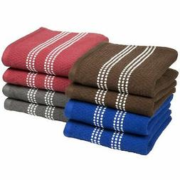 8 Pc Colored 100% Cotton Egyptian Loop Exfoliating Quick Dry