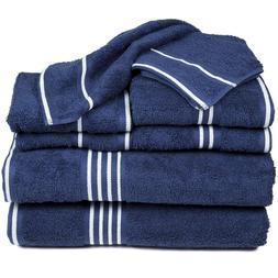 8 piece Navy Blue Cotton Towel Set 2 x each size / BATH HAND