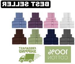 8 Piece Towel Set, 100% Cotton Gray White Blue Green Brown P