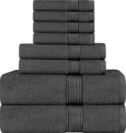 Utopia Towels 8 Piece Towel Set, Dark Grey, 2 Bath Towels, 2