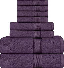 Utopia Towels 8 Piece Towel Set, Plum, 2 Bath Towels, 2 Hand