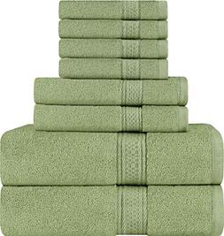 Utopia Towels 8 Piece Towel Set, Sage Green, 2 Bath Towels,