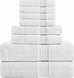 Utopia Towels 8 Piece Towel Set, White, 2 Bath Towels, 2 Han