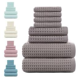 8pack Bathroom Hand Bath Towels Set 100% Cotton Extra-Absorb
