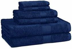 AmazonBasics Fade-Resistant 6-Piece Cotton Towel Set, Navy B