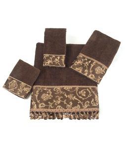 Avanti Linens Damask Fringe Bath Towel, Mocha