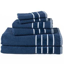 Bedford Home Home 100%  Cotton Rice Weave 6 Pc Towel Set-Nav