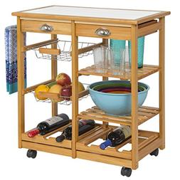 Best Choice Products Rolling Wood Kitchen Storage Cart Dinin