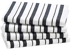 Cotton Craft - 4 Pack - Basket Weave Kitchen Towels - Black