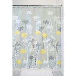 InterDesign Daizy Shower Curtain, Gray and Yellow, 72 x 72-I