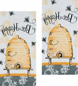 Kay Dee Bee Happy Cotton Terry Kitchen Towels, Set of 2,Yell