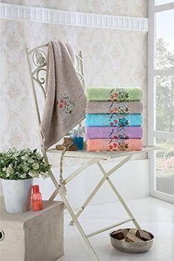 Pack of 6, Paris Towel Collection Embroidered Eiffel Tower T