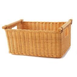 The Basket Lady Pole Handle Wicker Storage Basket, Extra Lar