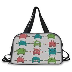 Travel handbag,Doodle,Twelve Monsters Side by Side Cute Beas