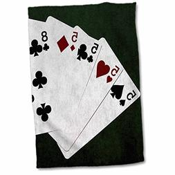 "3dRose Poker Hands Four of a Kind Five Eight Towel, 15"" x 22"