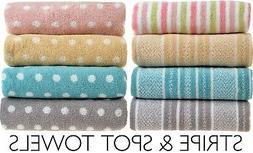 Allure Luxury 100% Cotton Stripe & Spot Pattern Bathroom Bat