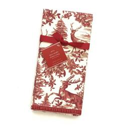 Pottery Barn Alpine Toile Guest Hand Towels Bathroom Red Gol