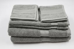 Amazon Basics Gray 8 Piece Bath Towel Set NEW