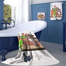 alisoso Ancient China Premium Cotton Extra Large Bath Towel