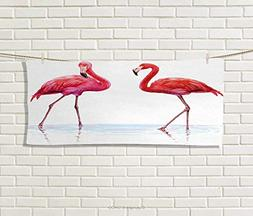 Anniutwo Animal,Hair Towel,Two Hand Drawn Flamingos in Pink