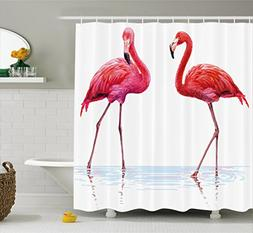 Ambesonne Animal Shower Curtain, Two Hand Drawn Flamingos in