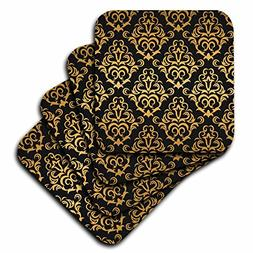 3dRose cst_239966_2 Glam Gold and Black Large Damask Pattern