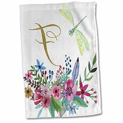 3dRose Anne Marie Baugh - Monograms - Pretty Watercolor Flor