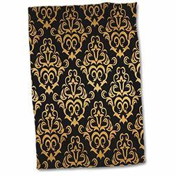 3D Rose Glam Gold and Black Large Damask Pattern Hand Towel,