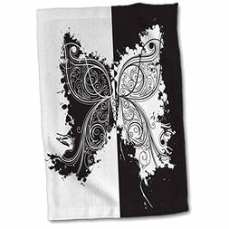 3D Rose Black and White Flourish Two-Tone Butterfly Hand Tow