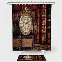 iPrint Antique Shower Curtain And Floor Mat Combination Set