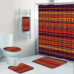 aolankaili 5 Piece Bathroom Rug Set/3 Piece Bath Rugs with F