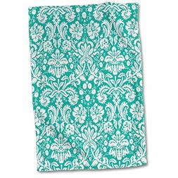 3dRose Aqua Blue and White Damask Pattern-Teal Turquoise-Cla