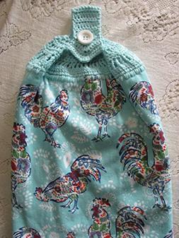 Aqua Floral Roosters Hanging Kitchen Towel - Aqua Blue Croch