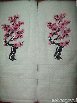 Asian Cherry Blossoms in Bloom Tree  Set HAND TOWELS EMBROID