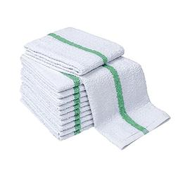 Atlas Economy Hand Towels 16x27 Inch  White with GREEN Strip