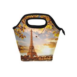 Naanle Autumn Leaves in Paris Eiffel Tower Insulated Zipper