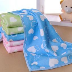 Baby Kids Love Heart Pattern Soft Microfiber Washcloth Face