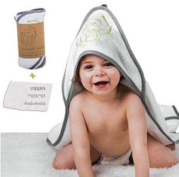 Bamboo Premium Baby Hooded Towel & Washcloth Set | Hands Fre