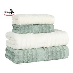 Lymga Bamboo Fiber Towel Set - Milky White/Light Green