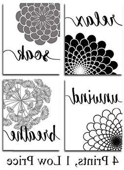 Bath Flowers Art Prints - Set of Four Photos  Unframed - Gre