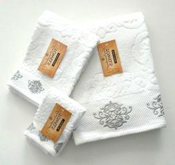 Bath Hand Fingertip Towel Set 3 Pc White Embroidered Silver
