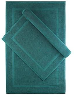 Cotton Craft - 2 Pack Bath Mat - Teal - 100% Ringspun Cotton