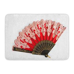 Aabagael Bath Mat Colorful Decorated Red Flamenco Hand Fan B