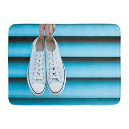 Aabagael Bath Mat Hanging Blue Sneakers Hand Holding Pair of