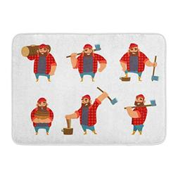 Aabagael Bath Mat Lumberjack in Different Poses Holding Axe