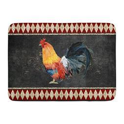 Ablitt Bath Mat Red Chalkboard Farmhouse Vintage Rooster Fre