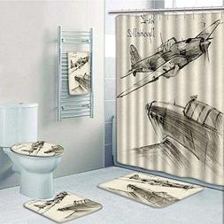aolankaili 5 Piece Bath Set:1 Large Bat Mat 1 Contour Mat 1