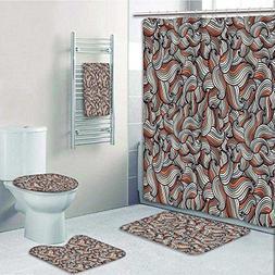 aolankaili 5 Piece Bath Set:1 Large Bat Mat 1 Contour Mat 1